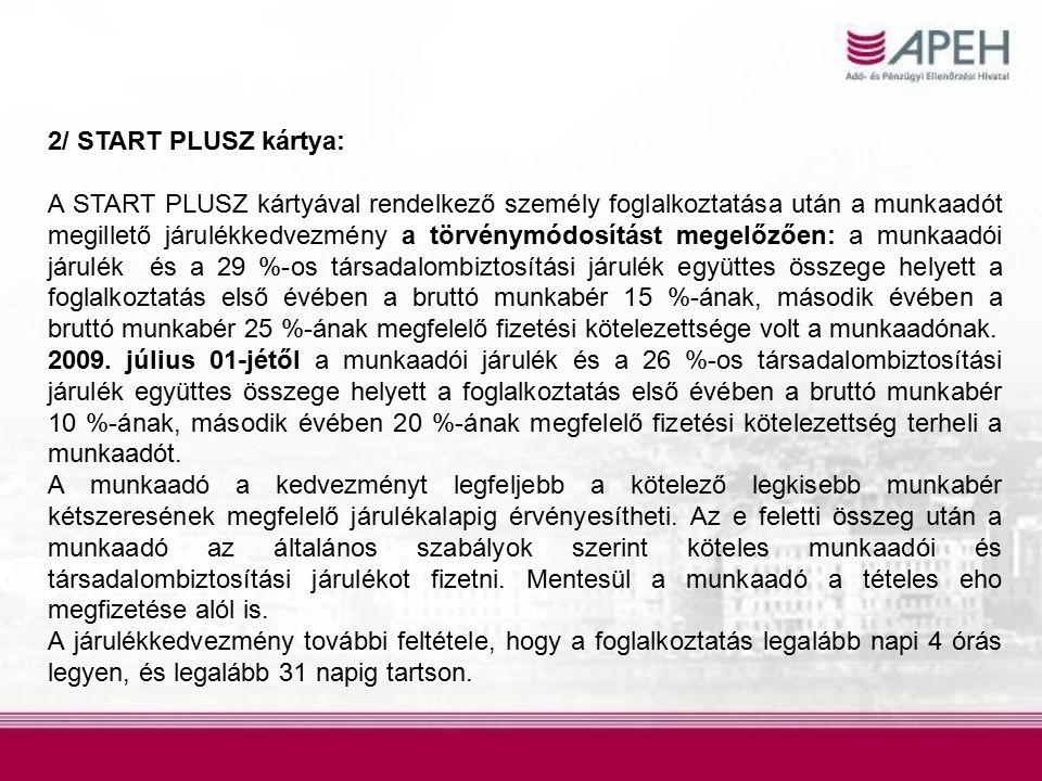 2/ START PLUSZ kártya: A START PLUSZ kártyával rendelkező személy foglalkoztatása után a munkaadót megillető járulékkedvezmény a törvénymódosítást meg