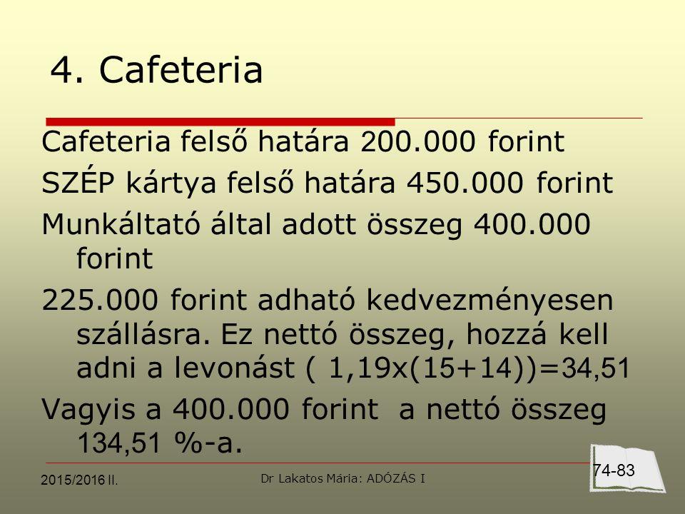 4. Cafeteria Cafeteria felső határa 2 00.000 forint SZÉP kártya felső határa 450.000 forint Munkáltató által adott összeg 400.000 forint 225.000 forin