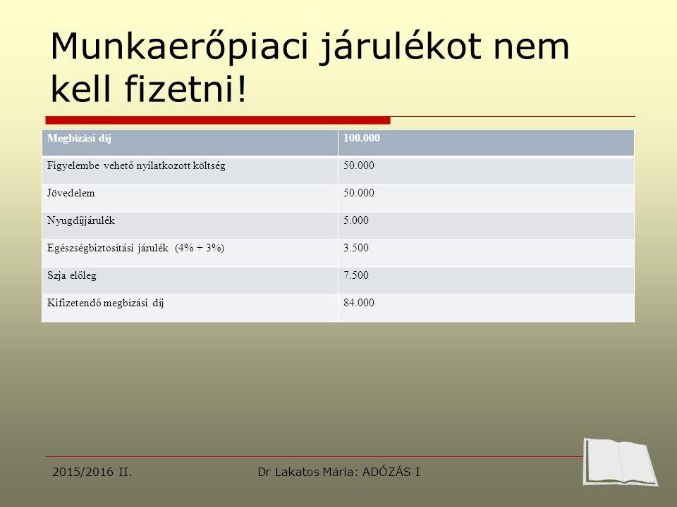 Munkaerőpiaci járulékot nem kell fizetni! 2015/2016 II.Dr Lakatos Mária: ADÓZÁS I Megbízási díj100.000 Figyelembe vehető nyilatkozott költség50.000 Jö