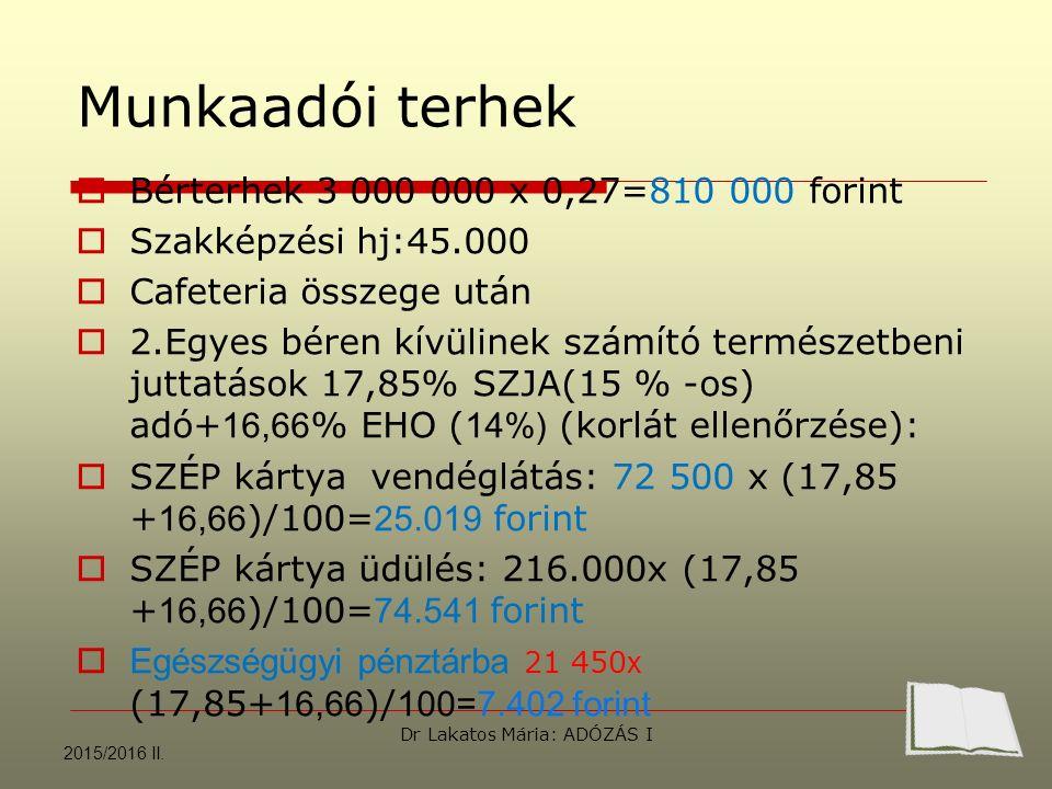 Munkaadói terhek  Bérterhek 3 000 000 x 0,27=810 000 forint  Szakképzési hj:45.000  Cafeteria összege után  2.Egyes béren kívülinek számító természetbeni juttatások 17,85% SZJA(15 % -os) adó+ 16,66 % EHO ( 14%) (korlát ellenőrzése):  SZÉP kártya vendéglátás: 72 500 x (17,85 + 16,66 )/100= 25.019 forint  SZÉP kártya üdülés: 216.000x (17,85 + 16,66 )/100= 74.541 forint  Egészségügyi pénztárba 21 450 x (17,85+ 16,66 )/ 100=7.402 forint 2015/2016 II.