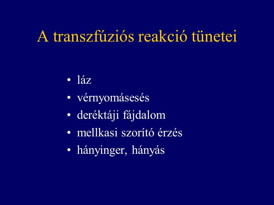A transzfúziós reakció tünetei láz vérnyomásesés deréktáji fájdalom mellkasi szorító érzés hányinger, hányás