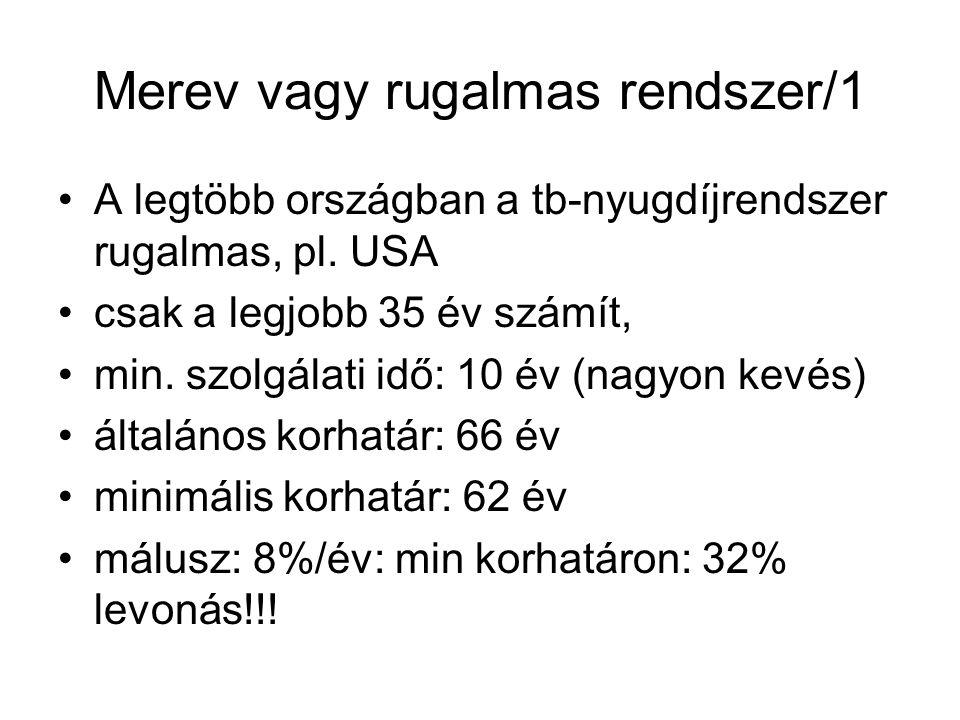 Merev vagy rugalmas rendszer/1 A legtöbb országban a tb-nyugdíjrendszer rugalmas, pl.