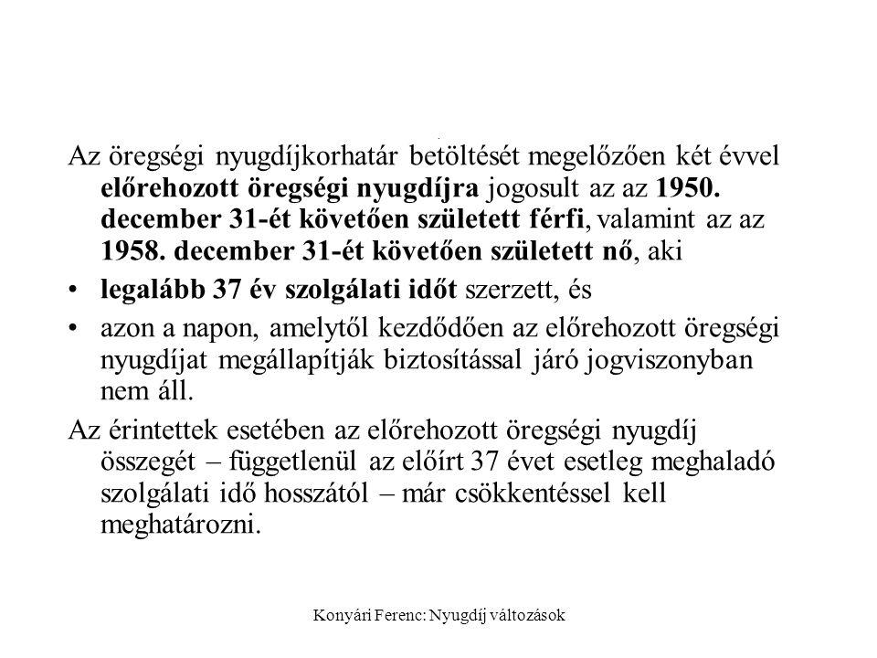 Konyári Ferenc: Nyugdíj változások. Az öregségi nyugdíjkorhatár betöltését megelőzően két évvel előrehozott öregségi nyugdíjra jogosult az az 1950. de