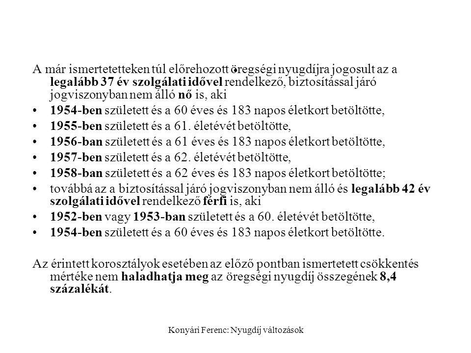 Konyári Ferenc: Nyugdíj változások.
