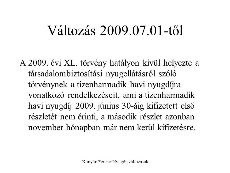 Konyári Ferenc: Nyugdíj változások Változás 2009.07.01-től A 2009.