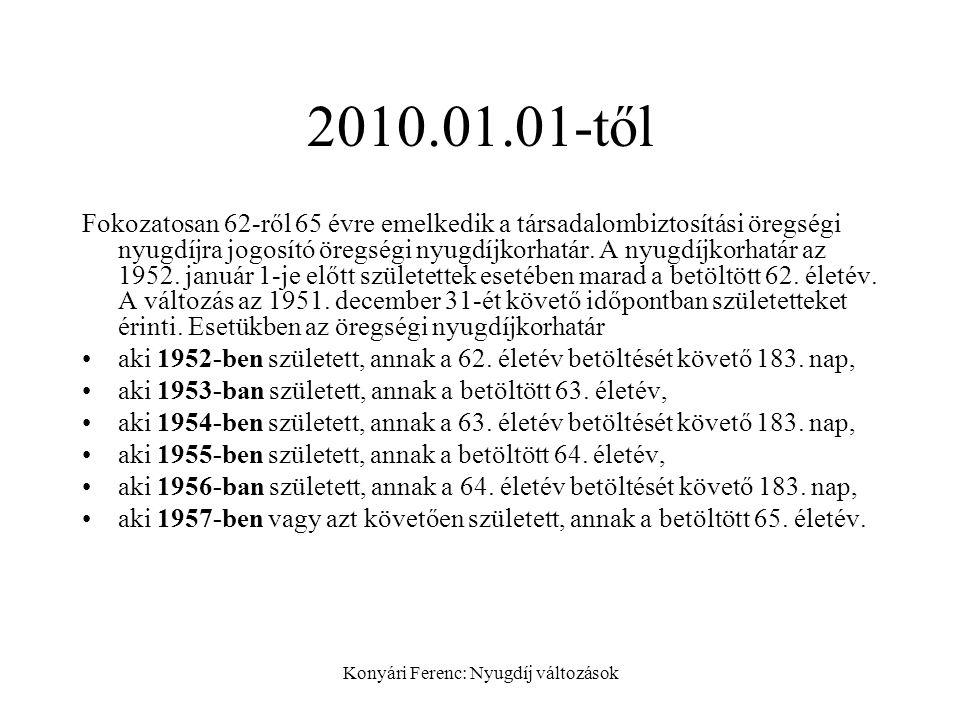 Konyári Ferenc: Nyugdíj változások 2010.01.01-től Fokozatosan 62-ről 65 évre emelkedik a társadalombiztosítási öregségi nyugdíjra jogosító öregségi nyugdíjkorhatár.