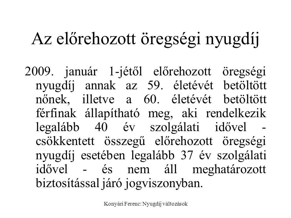 Konyári Ferenc: Nyugdíj változások Az előrehozott öregségi nyugdíj 2009.