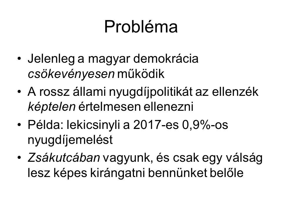 Probléma Jelenleg a magyar demokrácia csökevényesen működik A rossz állami nyugdíjpolitikát az ellenzék képtelen értelmesen ellenezni Példa: lekicsinyli a 2017-es 0,9%-os nyugdíjemelést Zsákutcában vagyunk, és csak egy válság lesz képes kirángatni bennünket belőle