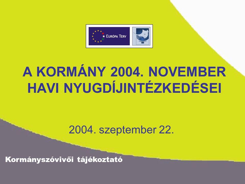 Kormányszóvivői tájékoztató A KORMÁNY 2004. NOVEMBER HAVI NYUGDÍJINTÉZKEDÉSEI 2004. szeptember 22.