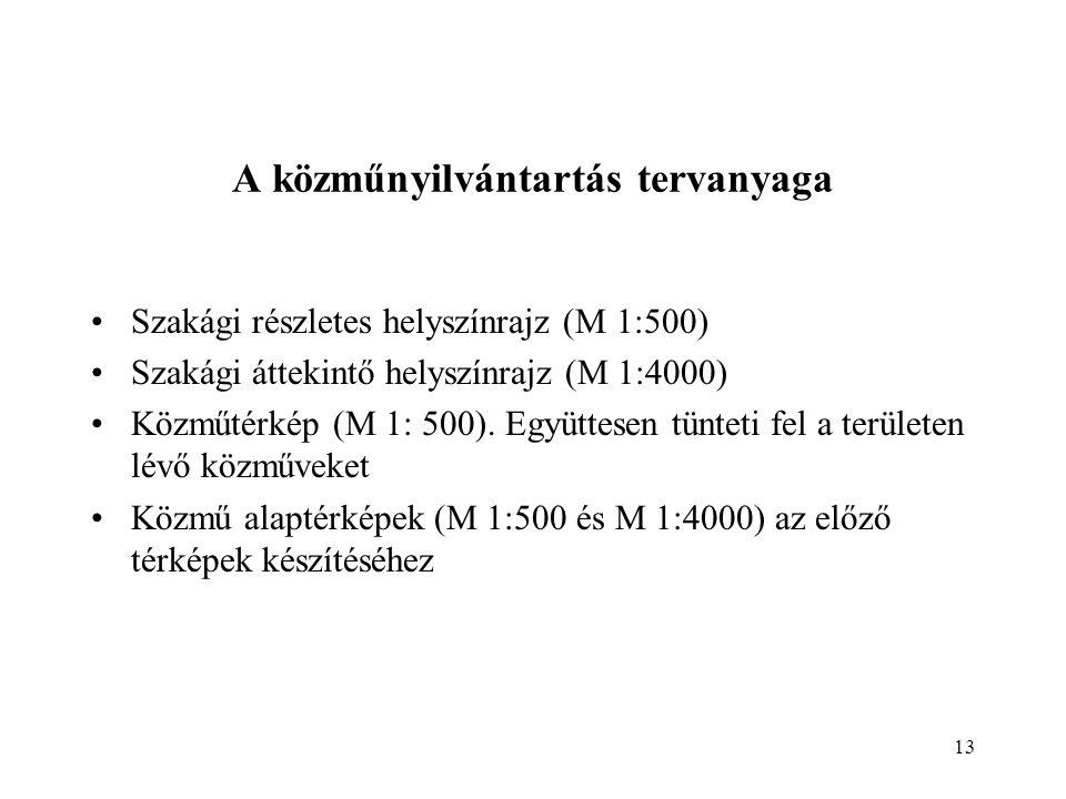 13 A közműnyilvántartás tervanyaga Szakági részletes helyszínrajz (M 1:500) Szakági áttekintő helyszínrajz (M 1:4000) Közműtérkép (M 1: 500).