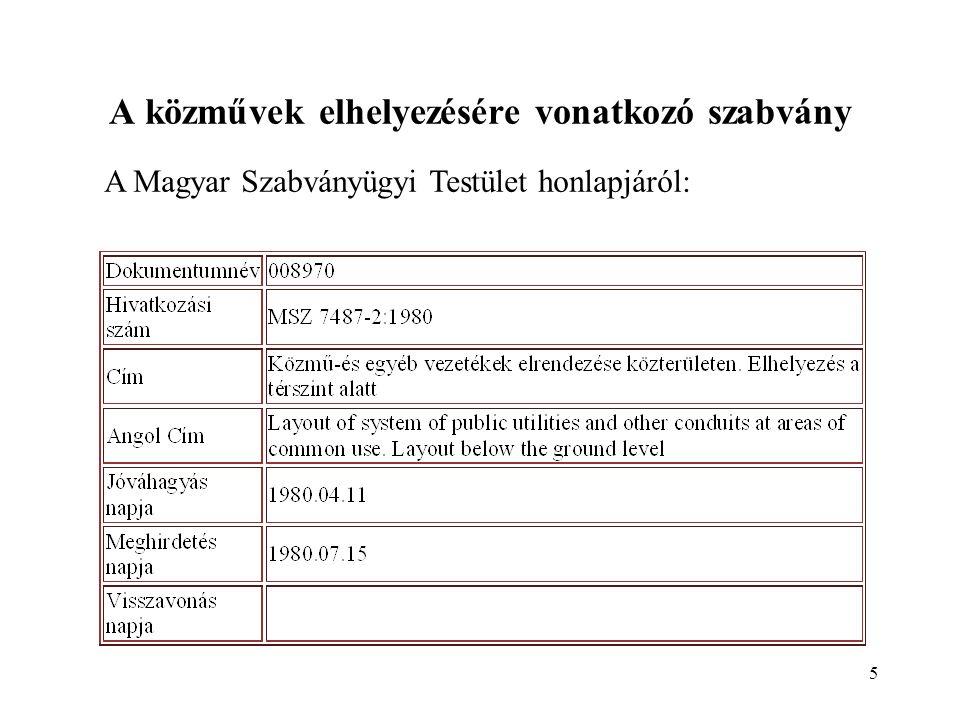 5 A közművek elhelyezésére vonatkozó szabvány A Magyar Szabványügyi Testület honlapjáról: