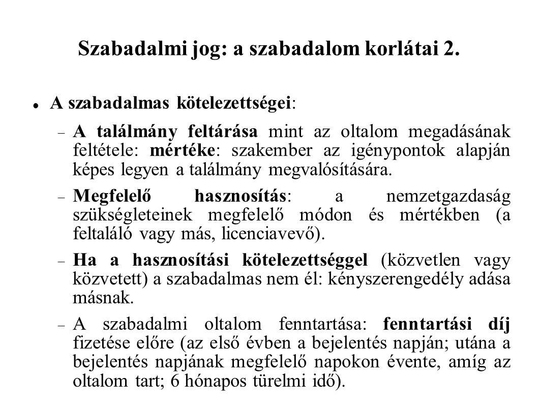 Szabadalmi jog: a szabadalom korlátai 2.