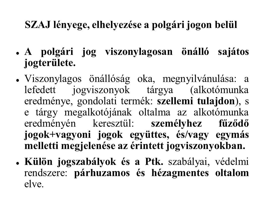 SZAJ lényege, elhelyezése a polgári jogon belül A polgári jog viszonylagosan önálló sajátos jogterülete.