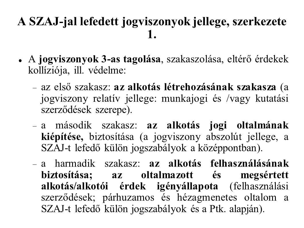A SZAJ-jal lefedett jogviszonyok jellege, szerkezete 1.