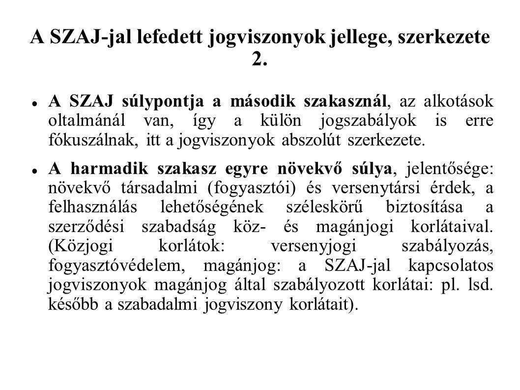 A SZAJ részei, jellemzői Szerzői jog:  Homogenitás (szerzői művek+ezekkel szomszédos jogok védelme).
