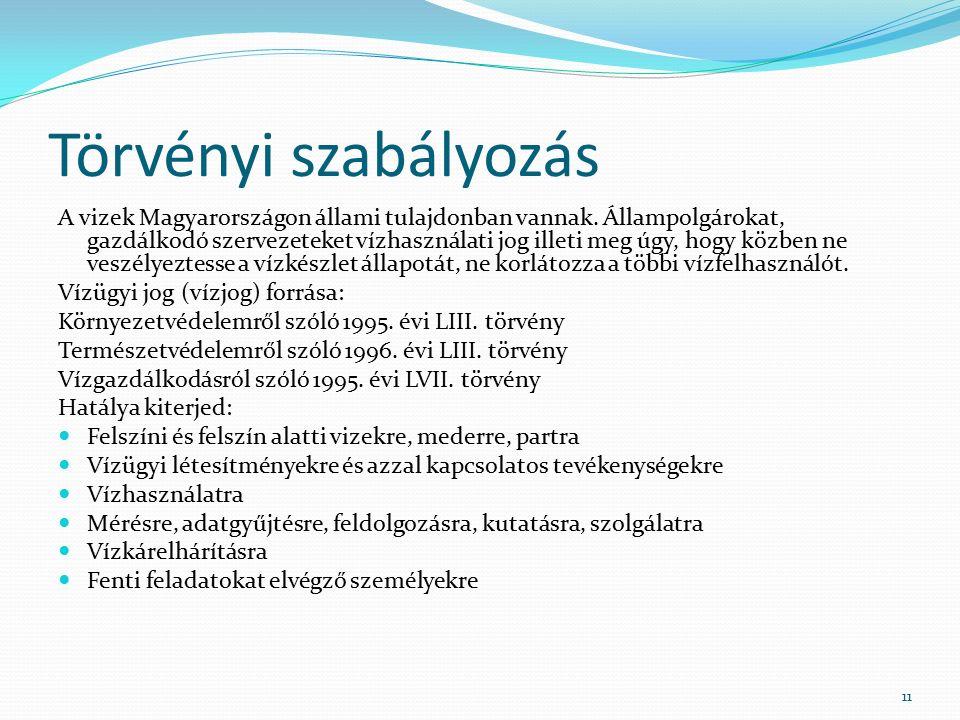 Törvényi szabályozás A vizek Magyarországon állami tulajdonban vannak.