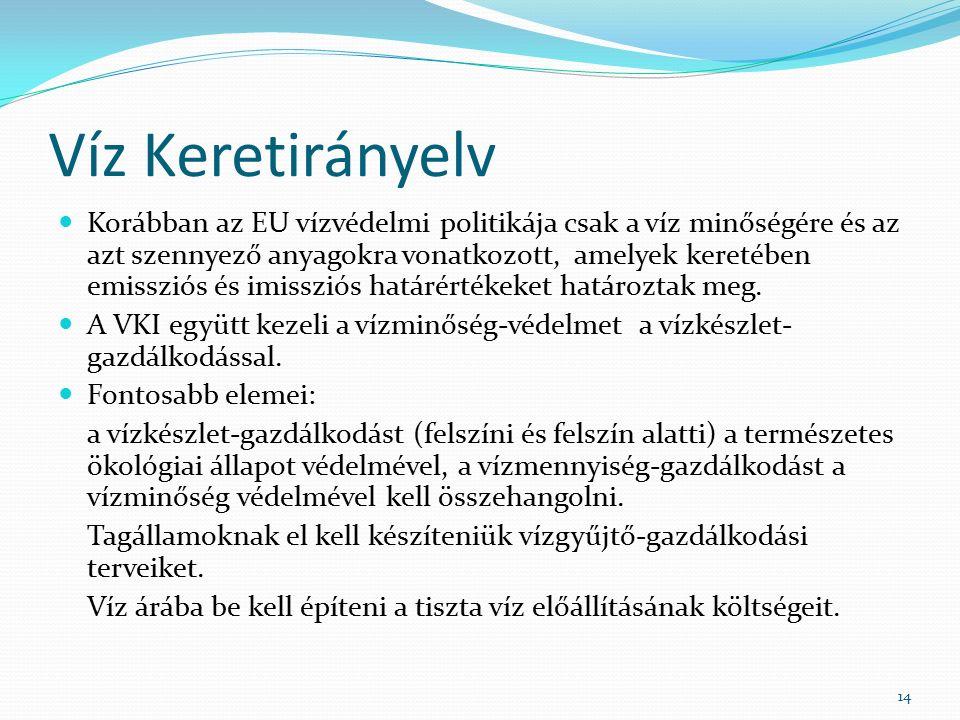 Víz Keretirányelv Korábban az EU vízvédelmi politikája csak a víz minőségére és az azt szennyező anyagokra vonatkozott, amelyek keretében emissziós és imissziós határértékeket határoztak meg.