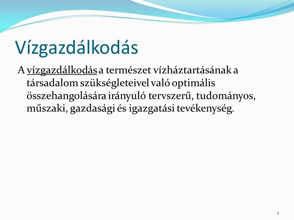 Törvényi szabályozás 2001.évi LXXI. törvény a vízgazdálkodásról szóló 1995.