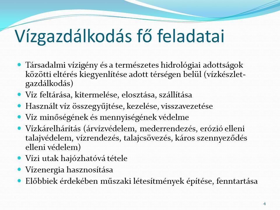 Vízgazdálkodás fő feladatai Társadalmi vízigény és a természetes hidrológiai adottságok közötti eltérés kiegyenlítése adott térségen belül (vízkészlet- gazdálkodás) Víz feltárása, kitermelése, elosztása, szállítása Használt víz összegyűjtése, kezelése, visszavezetése Víz minőségének és mennyiségének védelme Vízkárelhárítás (árvízvédelem, mederrendezés, erózió elleni talajvédelem, vízrendezés, talajcsövezés, káros szennyeződés elleni védelem) Vízi utak hajózhatóvá tétele Vízenergia hasznosítása Előbbiek érdekében műszaki létesítmények építése, fenntartása 4