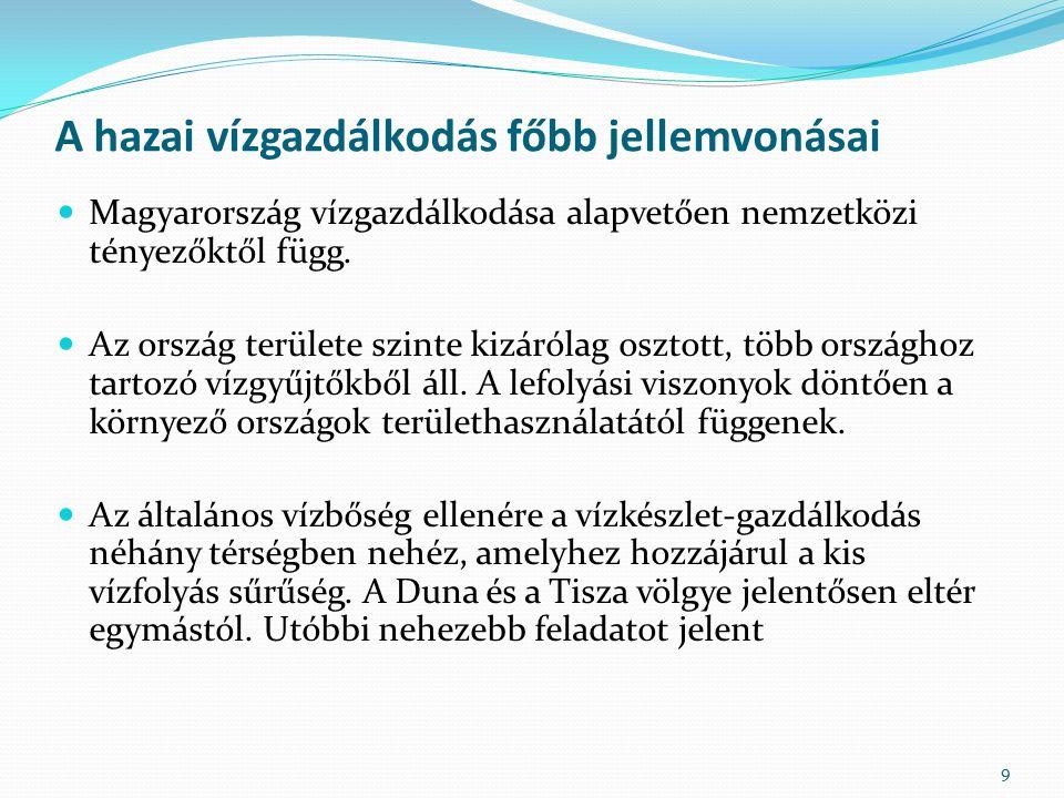 A hazai vízgazdálkodás főbb jellemvonásai Magyarország vízgazdálkodása alapvetően nemzetközi tényezőktől függ.