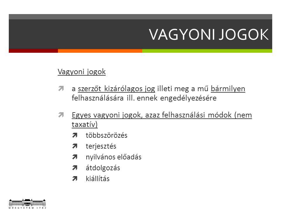VAGYONI JOGOK Vagyoni jogok  a szerzőt kizárólagos jog illeti meg a mű bármilyen felhasználására ill.