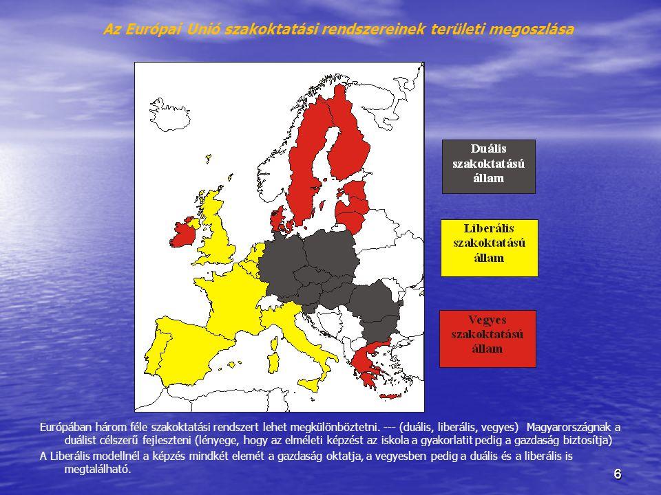66 Az Európai Unió szakoktatási rendszereinek területi megoszlása Szerk.: Garai P.