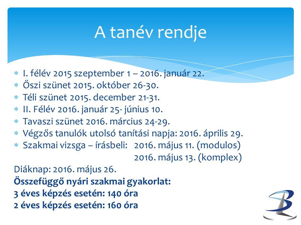 A tanév rendje  I.félév 2015 szeptember 1 – 2016.