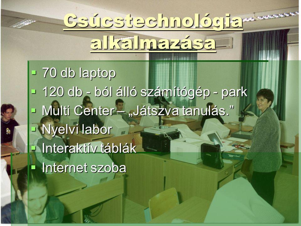 """Csúcstechnológia alkalmazása  70 db laptop  120 db - ból álló számítógép - park  Multi Center – """"Játszva tanulás.  Nyelvi labor  Interaktív táblák  Internet szoba"""