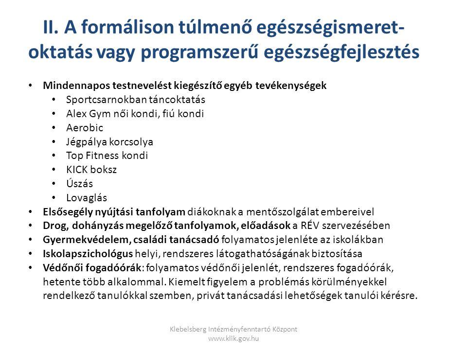 Klebelsberg Intézményfenntartó Központ www.klik.gov.hu II.