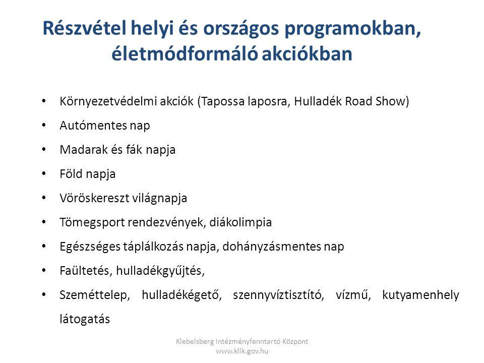 Klebelsberg Intézményfenntartó Központ www.klik.gov.hu TÁMOP 6.1.2.