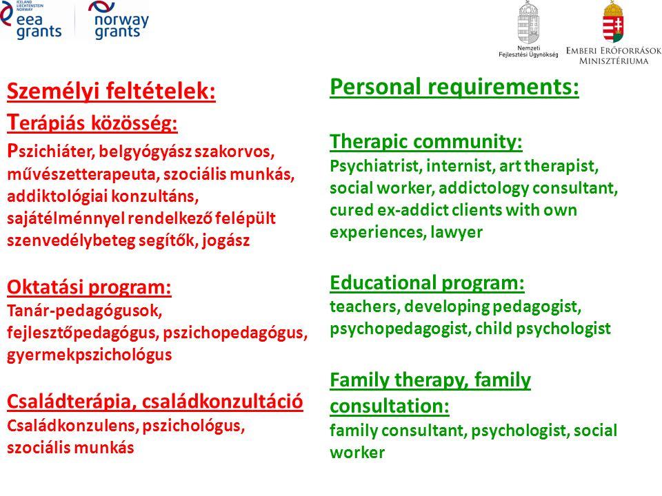 Személyi feltételek: T erápiás közösség: P szichiáter, belgyógyász szakorvos, művészetterapeuta, szociális munkás, addiktológiai konzultáns, sajátélménnyel rendelkező felépült szenvedélybeteg segítők, jogász Oktatási program: Tanár-pedagógusok, fejlesztőpedagógus, pszichopedagógus, gyermekpszichológus Családterápia, családkonzultáció Családkonzulens, pszichológus, szociális munkás Personal requirements: Therapic community: Psychiatrist, internist, art therapist, social worker, addictology consultant, cured ex-addict clients with own experiences, lawyer Educational program: teachers, developing pedagogist, psychopedagogist, child psychologist Family therapy, family consultation: family consultant, psychologist, social worker