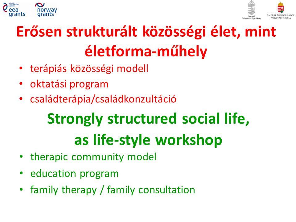 Erősen strukturált közösségi élet, mint életforma-műhely terápiás közösségi modell oktatási program családterápia/családkonzultáció Strongly structured social life, as life-style workshop therapic community model education program family therapy / family consultation