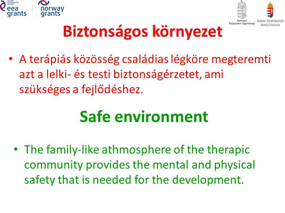 Biztonságos környezet A terápiás közösség családias légköre megteremti azt a lelki- és testi biztonságérzetet, ami szükséges a fejlődéshez.