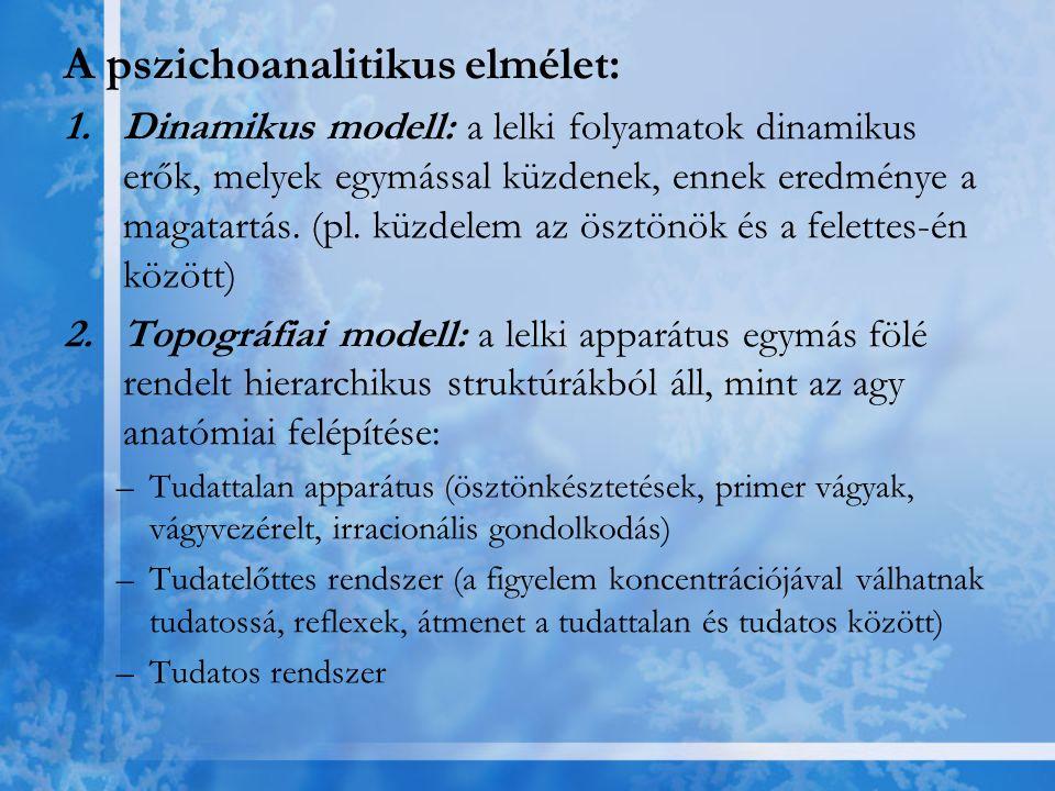 A pszichoanalitikus elmélet: 1.Dinamikus modell: a lelki folyamatok dinamikus erők, melyek egymással küzdenek, ennek eredménye a magatartás. (pl. küzd