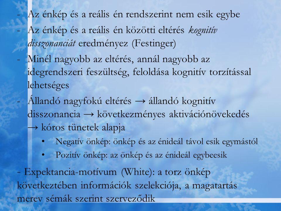 -Az énkép és a reális én rendszerint nem esik egybe -Az énkép és a reális én közötti eltérés kognitív disszonanciát eredményez (Festinger) -Minél nagy