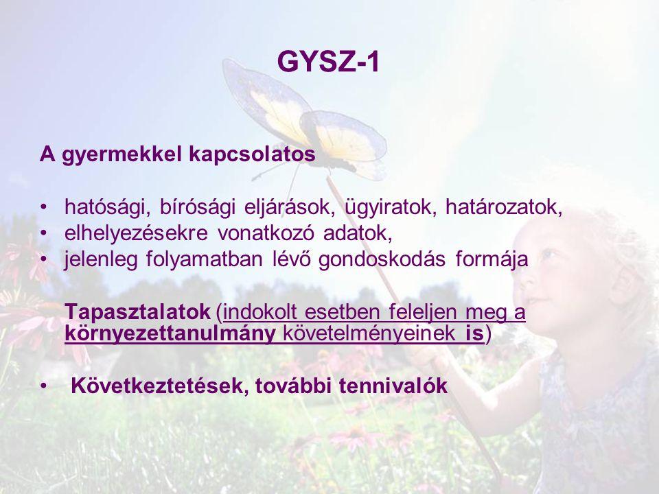GYSZ-1 A gyermekkel kapcsolatos hatósági, bírósági eljárások, ügyiratok, határozatok, elhelyezésekre vonatkozó adatok, jelenleg folyamatban lévő gondo