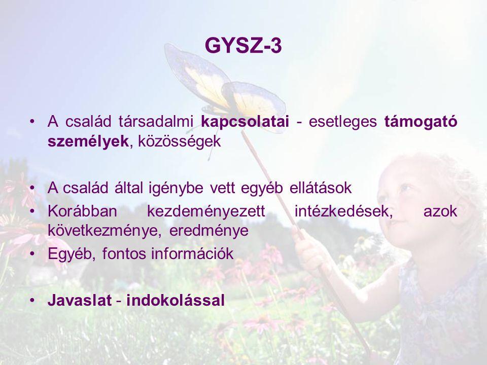 GYSZ-3 A család társadalmi kapcsolatai - esetleges támogató személyek, közösségek A család által igénybe vett egyéb ellátások Korábban kezdeményezett