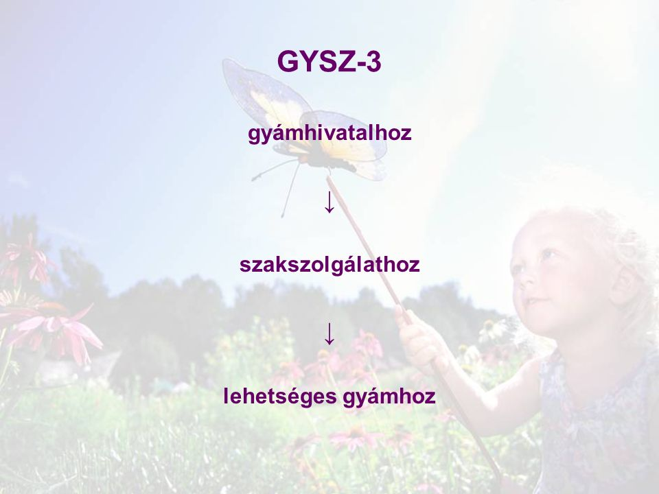 GYSZ-3 gyámhivatalhoz ↓ szakszolgálathoz ↓ lehetséges gyámhoz