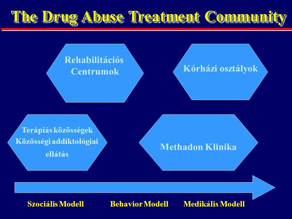 The Drug Abuse Treatment Community Rehabilitációs Centrumok Szociális Modell Behavior Modell Medikális Modell Kórházi osztályok Terápiás közösségek Közösségi addiktológiai ellátás Methadon Klinika