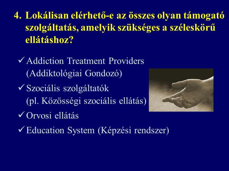Addiction Treatment Providers (Addiktológiai Gondozó) Szociális szolgáltatók (pl.