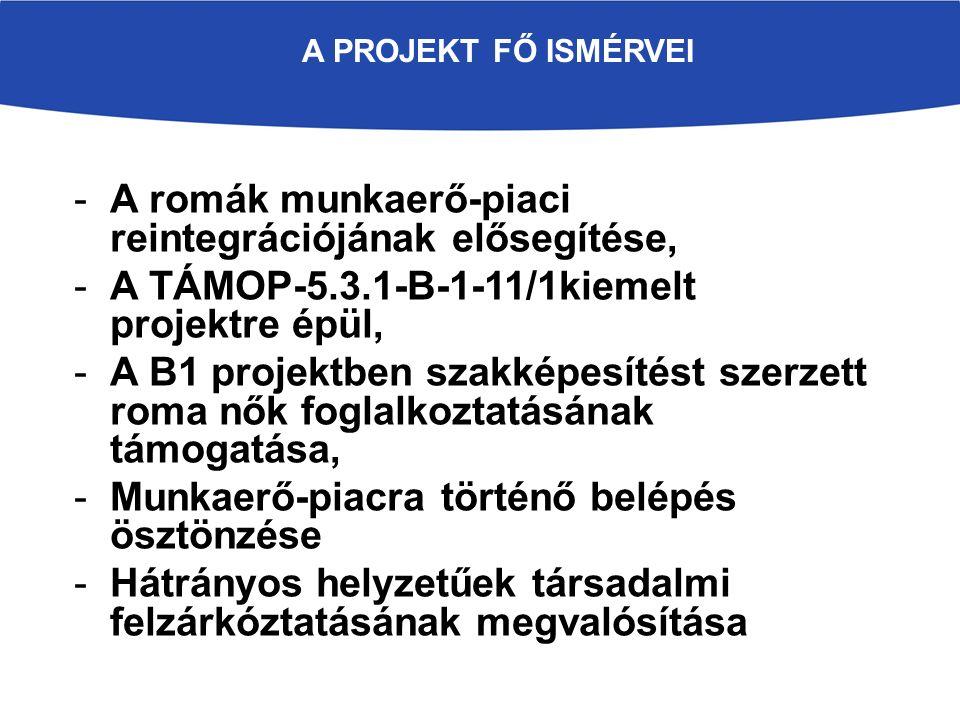 -A romák munkaerő-piaci reintegrációjának elősegítése, -A TÁMOP-5.3.1-B-1-11/1kiemelt projektre épül, -A B1 projektben szakképesítést szerzett roma nők foglalkoztatásának támogatása, -Munkaerő-piacra történő belépés ösztönzése -Hátrányos helyzetűek társadalmi felzárkóztatásának megvalósítása A PROJEKT FŐ ISMÉRVEI