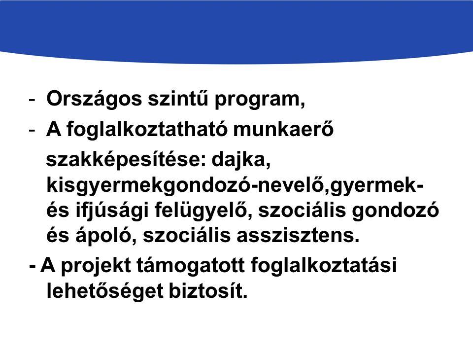 -Országos szintű program, -A foglalkoztatható munkaerő szakképesítése: dajka, kisgyermekgondozó-nevelő,gyermek- és ifjúsági felügyelő, szociális gondozó és ápoló, szociális asszisztens.