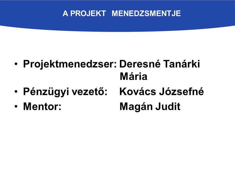 A PROJEKT MENEDZSMENTJE Projektmenedzser: Deresné Tanárki Mária Pénzügyi vezető: Kovács Józsefné Mentor: Magán Judit