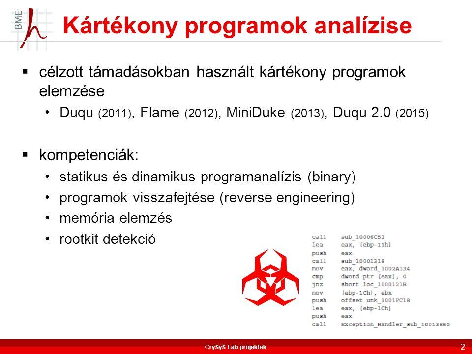  célzott támadásokban használt kártékony programok elemzése Duqu (2011), Flame (2012), MiniDuke (2013), Duqu 2.0 (2015)  kompetenciák: statikus és d