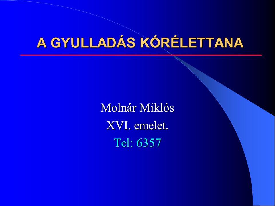 A GYULLADÁS KÓRÉLETTANA Molnár Miklós XVI. emelet. Tel: 6357