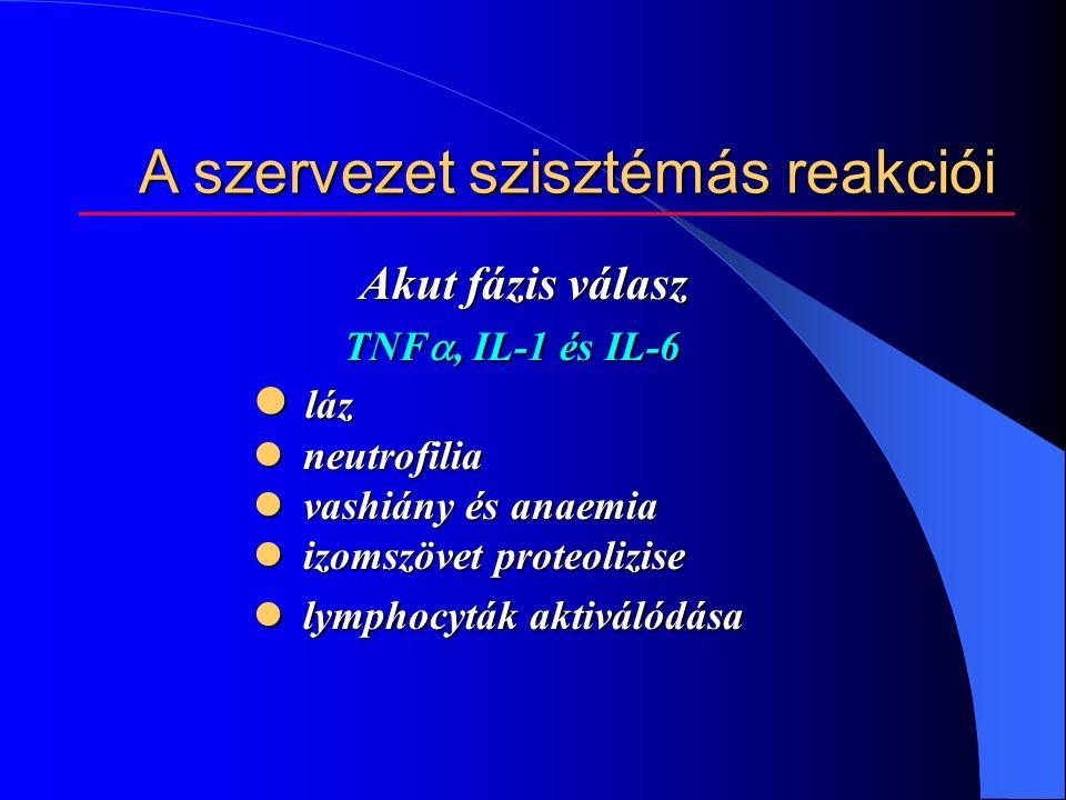 A szervezet szisztémás reakciói Akut fázis válasz TNF , IL-1 és IL-6 TNF , IL-1 és IL-6 láz láz neutrofilia neutrofilia vashiány és anaemia vashiány és anaemia izomszövet proteolizise izomszövet proteolizise lymphocyták aktiválódása lymphocyták aktiválódása