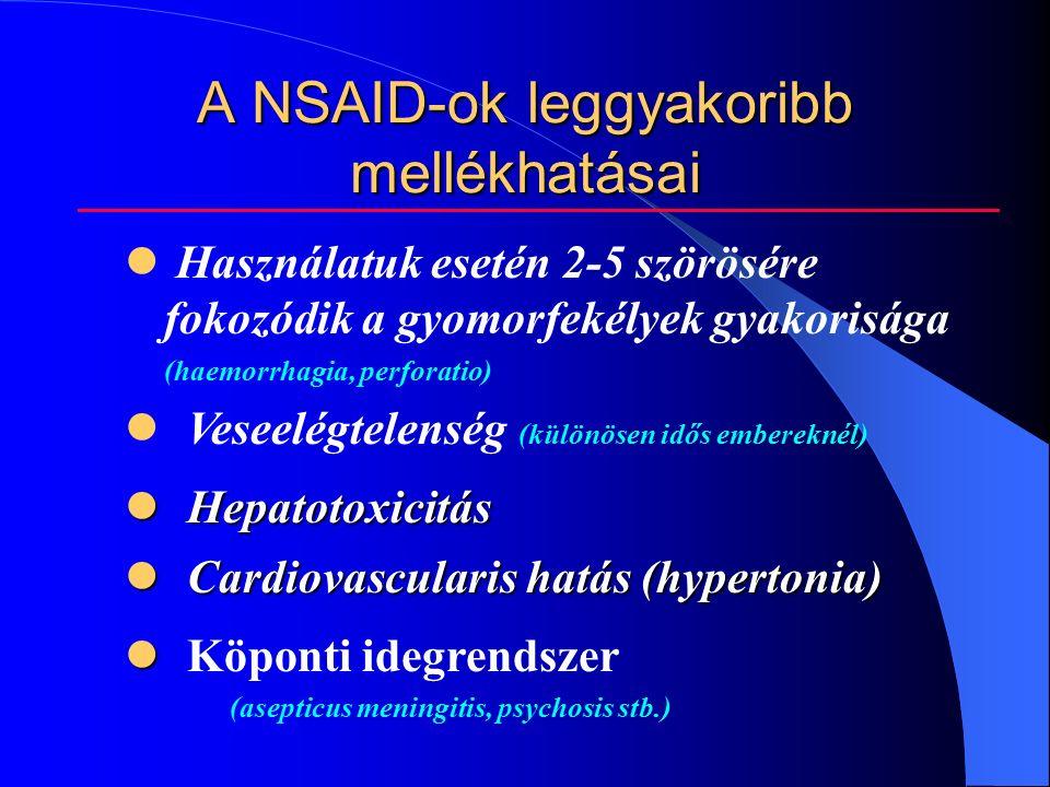 A NSAID-ok leggyakoribb mellékhatásai Használatuk esetén 2-5 szörösére fokozódik a gyomorfekélyek gyakorisága (haemorrhagia, perforatio) Veseelégtelenség (különösen idős embereknél) Hepatotoxicitás Hepatotoxicitás Cardiovascularis hatás (hypertonia) Cardiovascularis hatás (hypertonia) Köponti idegrendszer (asepticus meningitis, psychosis stb.)
