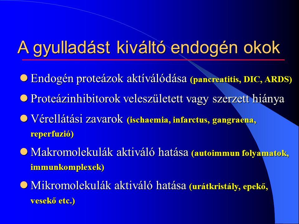 A gyulladást kiváltó endogén okok Endogén proteázok aktíválódása (pancreatitis, DIC, ARDS) Endogén proteázok aktíválódása (pancreatitis, DIC, ARDS) Proteázinhibitorok veleszületett vagy szerzett hiánya Proteázinhibitorok veleszületett vagy szerzett hiánya Vérellátási zavarok (ischaemia, infarctus, gangraena, reperfuzió) Vérellátási zavarok (ischaemia, infarctus, gangraena, reperfuzió) Makromolekulák aktiváló hatása (autoimmun folyamatok, immunkomplexek) Makromolekulák aktiváló hatása (autoimmun folyamatok, immunkomplexek) Mikromolekulák aktiváló hatása (urátkristály, epekő, vesekő etc.) Mikromolekulák aktiváló hatása (urátkristály, epekő, vesekő etc.)