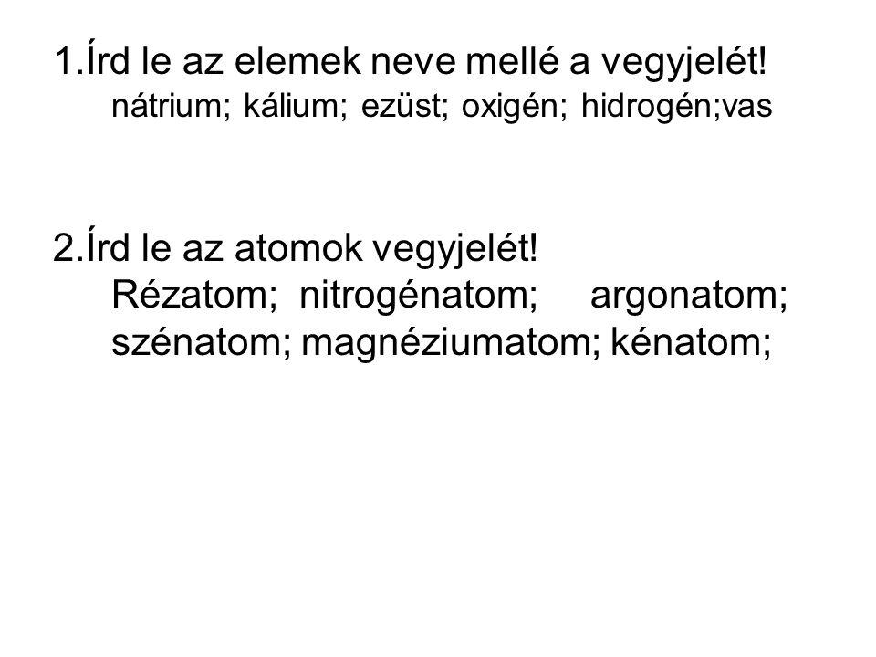 1.Írd le az elemek neve mellé a vegyjelét! nátrium; kálium; ezüst; oxigén; hidrogén;vas 2.Írd le az atomok vegyjelét! Rézatom; nitrogénatom; argonatom
