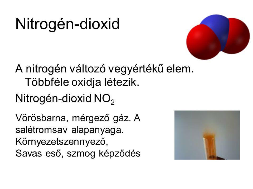 Nitrogén-dioxid A nitrogén változó vegyértékű elem. Többféle oxidja létezik. Nitrogén-dioxid NO 2 Vörösbarna, mérgező gáz. A salétromsav alapanyaga. K